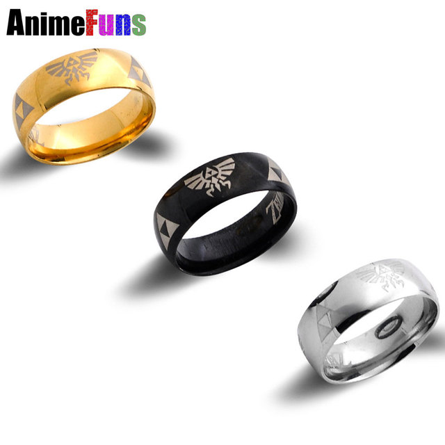 Hot Sale LEGEND of ZELDA Ring Shiny Black Mens Tungsten Carbide