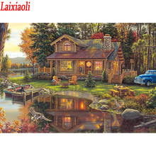 Full Square/Round Diamond Painting sweet family DIY Diamond Embroidery village Cabin in the Woods Cross stitch Rhinestone Mosaic