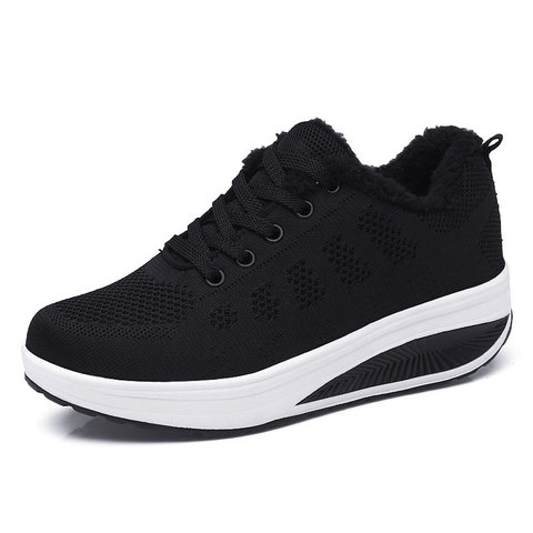 Hot Sales 2019 New Plus Velvet Winter Shoes Women Sneakers Shoes Non-slip Wedges Fashion Casual Shoes Female Wild Warm Sneakers Lahore
