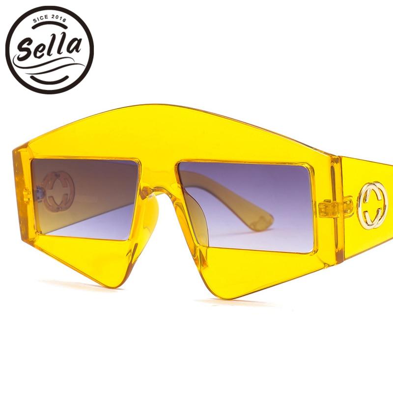 Sella New Arrival Fashion Women Men Unique Square Colorful Transparent Frame Sunglasses Brand Designer Polygonal Eyewear Glasses