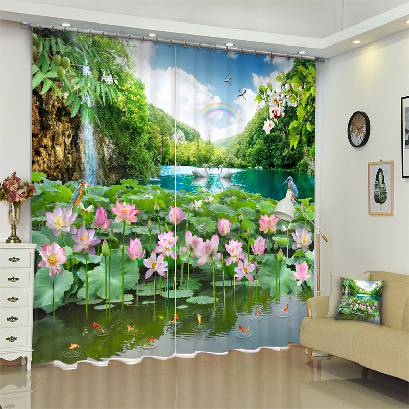 New Customize Office Polyester 3D Blackout Curtains Pink Lotus Scenery Pattern Thicken Fabric Bedroom for Living Room