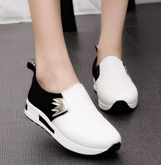 Новое прибытие женщин кроссовки открытый обувь ladies повседневная обувь дышащая скольжения на лоскутное обувь для ходьбы женщины плоские туфли
