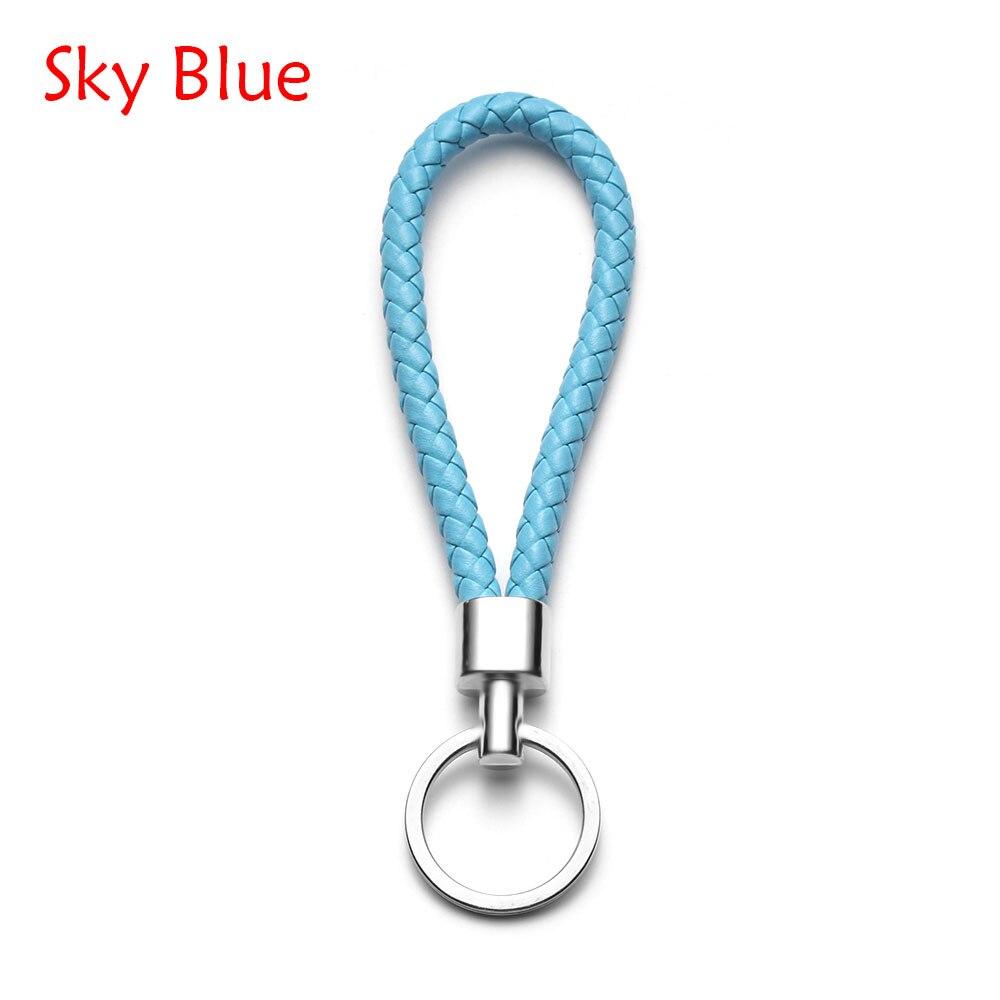 13 цветов ручной работы плетеная брелок для ключей кожаный брелок автомобильный брелок Прямая - Название цвета: sky blue