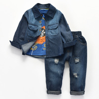 Newly Kids Baby Boy Design Soft Jeans Coat Pants Tshirt Cotton Denim Broken Pants Trousers Suits