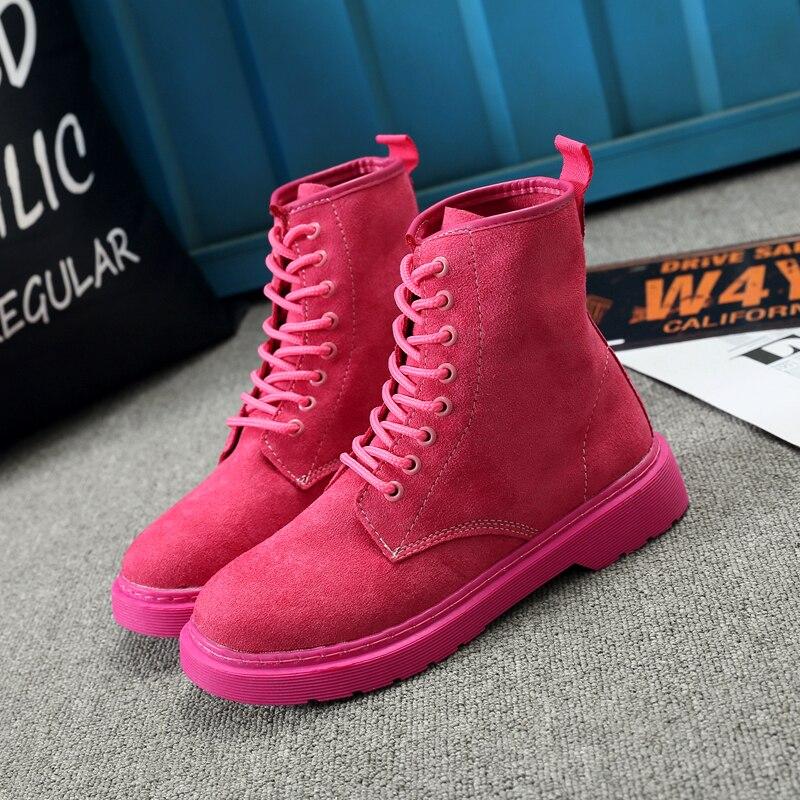 Nuevas Del Libre rosy Faux Suede Botas Negro Casual De Al Lace 2018 Moda Aire Up Mujer Botines Invierno Mujeres Las Otoño Plataforma Red Marea rwCrxHqI