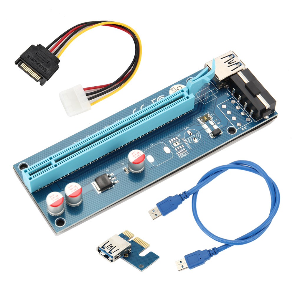 New 60CM PCIE 1X To 16X PCI Express Riser Card For Miner Machine Overcurrent Protection USB Cable SATA To 4 Pin Power Cord XXM