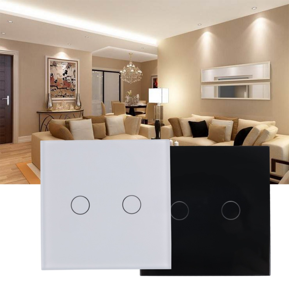 High Quality Smart Capacitive 2 Way Touch Control Wall Panel Light Switch LED Backlight Hot Selling Free Shipping 2017 free shipping smart wall switch crystal glass panel switch us 2 gang remote control touch switch wall light switch for led