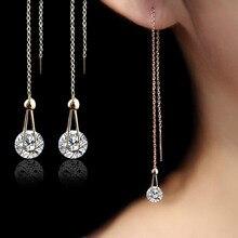 USTAR 2.0 ct AAA Zircon Stud Earrings for women long chain Rose Gold Color crystal Earrings female Jewelry fashion brincos gift
