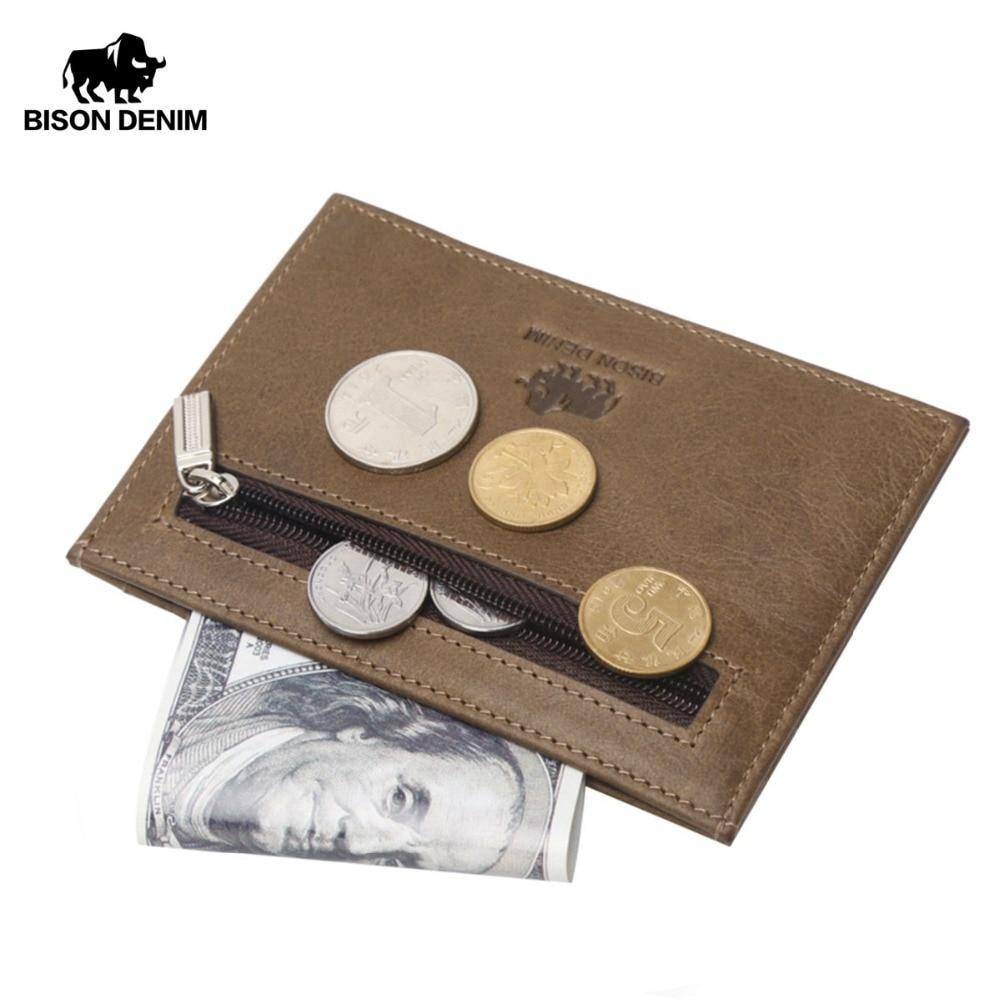 BISON DENIM Genuine Leather Guarantee Retro Design Coin Purses Men Credit Card Holder Vintage Pocket  Mini Small Wallets W9309