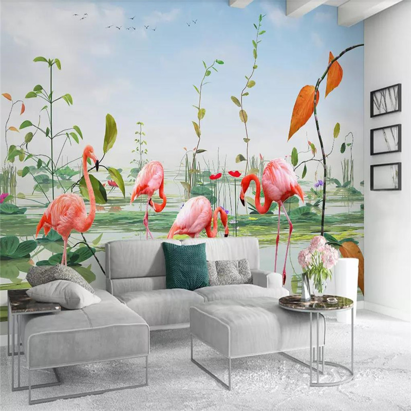 Custom murals 3D modern minimalist small fresh lotus pond plants flamingo TV background wall covering wallpaper murals in Fabric Textile Wallcoverings from Home Improvement