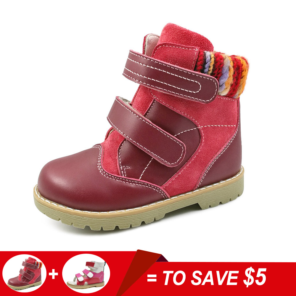 Baby girls spring winter warm boot children genuine leather orthopedic boot shoes kids red synthetic fur ankle boots shoes