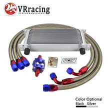 VR RACING- UNIVERSAL 16 ROW AN10 ENGINE TRANSMISS OIL COOLER KIT +FILTER RELOCATION BLUE VR7016S+6724BR+3PCS 16 row an10 racing engine oil cooler kit fits for 01 05 subaru impreza wrx sti silver black