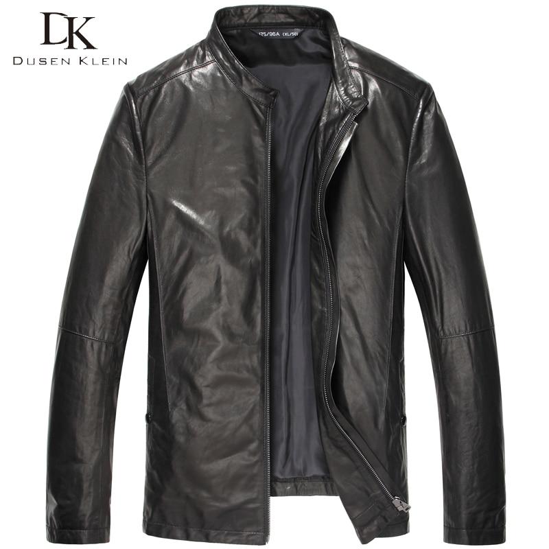 Dusen Klein Brand Men Genuine Leather Jacket Autumn Outerwear Black/Slim/Simple/Casual/Sheepskin/ Leather Coat 15S1420
