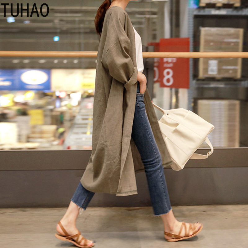 TUHAO 2019 Spring Summer Korean Version of The Large Size Loose Linen Casusal Long Woman Cardigan Womens   Trench   Coat WL36