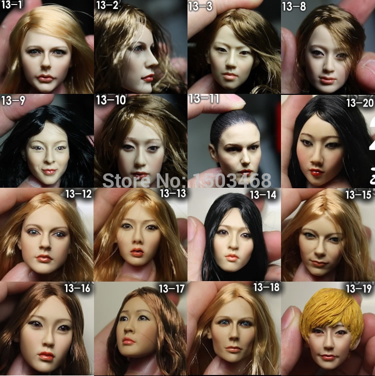KUMIK 1/6 scale female head shape for 12 action figure doll accessories doll head carved not include the body,clothes and other