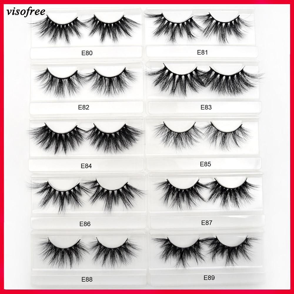 Visofree 25mm Lashes Mink Eyelashes 3D Mink Strip Eyelashes Long Dramatic Full Lashes Handmade Makeup False Eyelashes Maquiagem