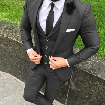 New Arrival Two Button Black Groom men suit Tuxedos Groomsmen Mens Wedding Prom Suits Custom Made (Jacket+Pants+Vest+Tie)