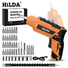 Destornillador eléctrico inalámbrico HILDA, destornillador de batería recargable para el hogar, Mini taladro eléctrico, herramientas eléctricas