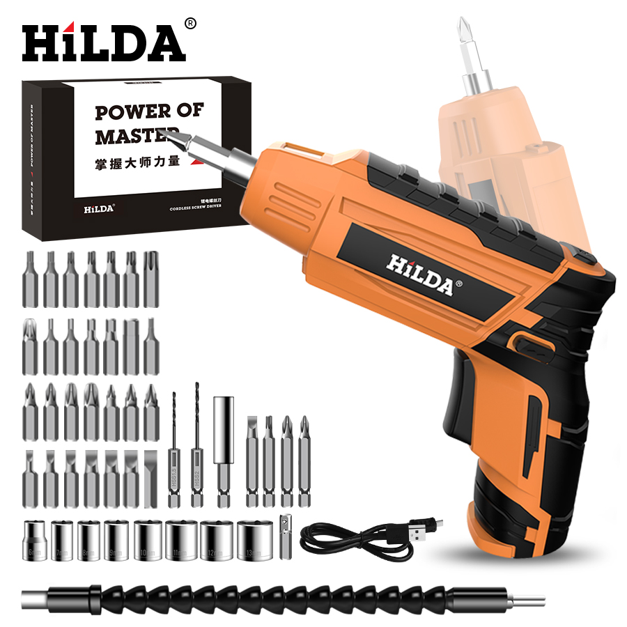 HILDA Cordless Electric Screwdriver Household Rechargeable battery Screwdriver Mini Drill Electric Drill Power Tools