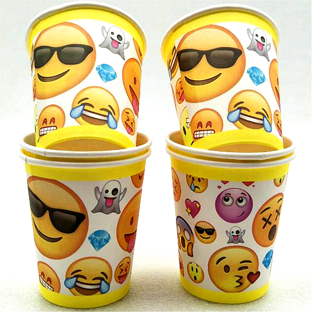 HOT! 10pcs Cute Cartoon Smiling Face Expression Thermo/Water Cup Birthday/ Children/Christmas/Mask Party Supplies/Decoration