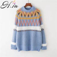 H.SA Woman Sweater Pullovers Long Sleeve Loose Oversized Knitted Jumpers Oneck Geometric Pullover Jumpers cashmere sweater 2018