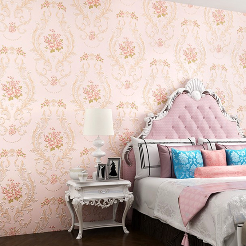 3d Papel de Parede Embossed Damask Vinyl Wallpaper Rolls for Wedding Room Background 3d Wall paper 3d Wallcoverings 4 colors 3d bookshelf wallpaper rolls for study room of american vintage chinese style background 3d wall paper papel de parede