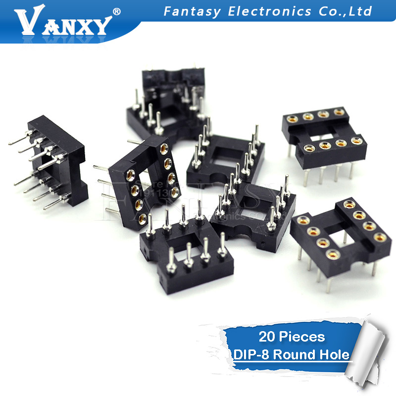 20pcs DIP-8 Round Hole 8 Pins 2.54MM DIP DIP8 IC Sockets Adaptor Solder Type 8 PIN IC Connector