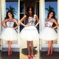 Compra rápida alta calidad formal dress vestidos de fiesta correa de espagueti de cuentas de baile vestido de una línea corta blanca vestidos de baile 2017