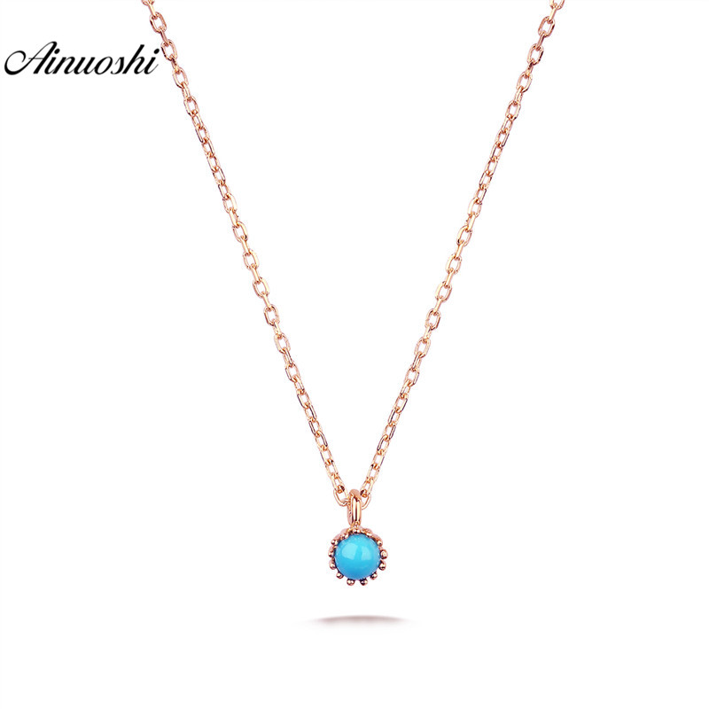 AINUOSHI 18K Pure Gold Natural Stone Turquoises Pendant Necklace for Women Party Jewelry Real Solid Gold Link Chain Engagement