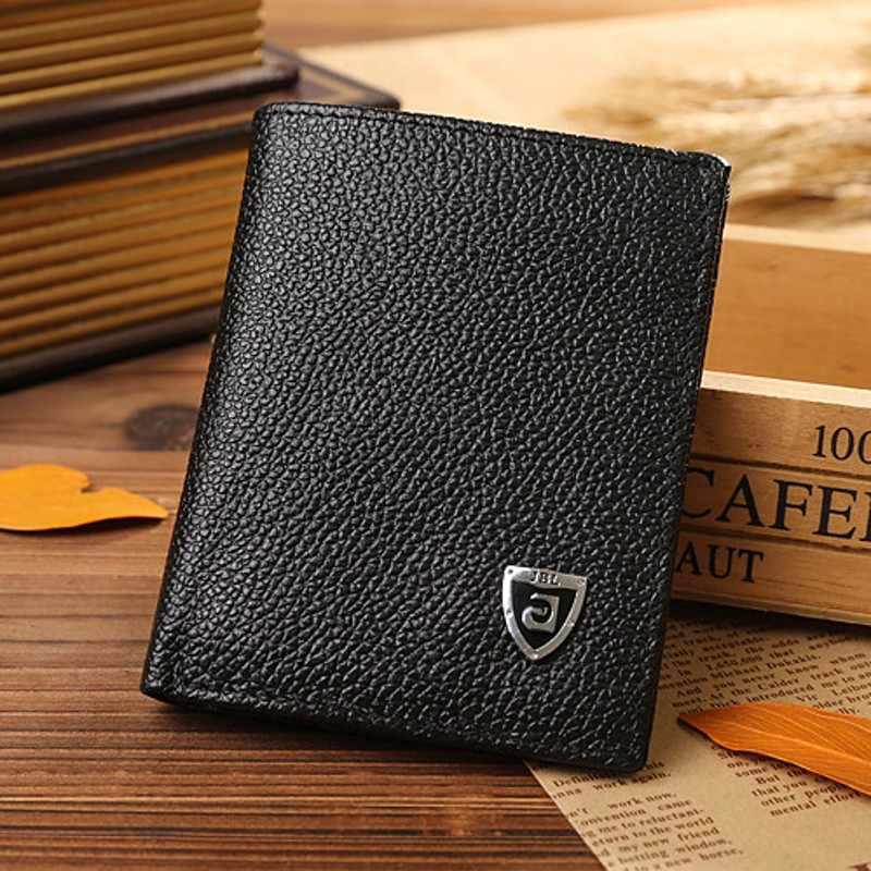 Nova promoção carteiras masculinas tamanho pequeno fino mini carteira de couro genuíno titular do cartão de crédito bolsa pequena para homens embreagem carteira