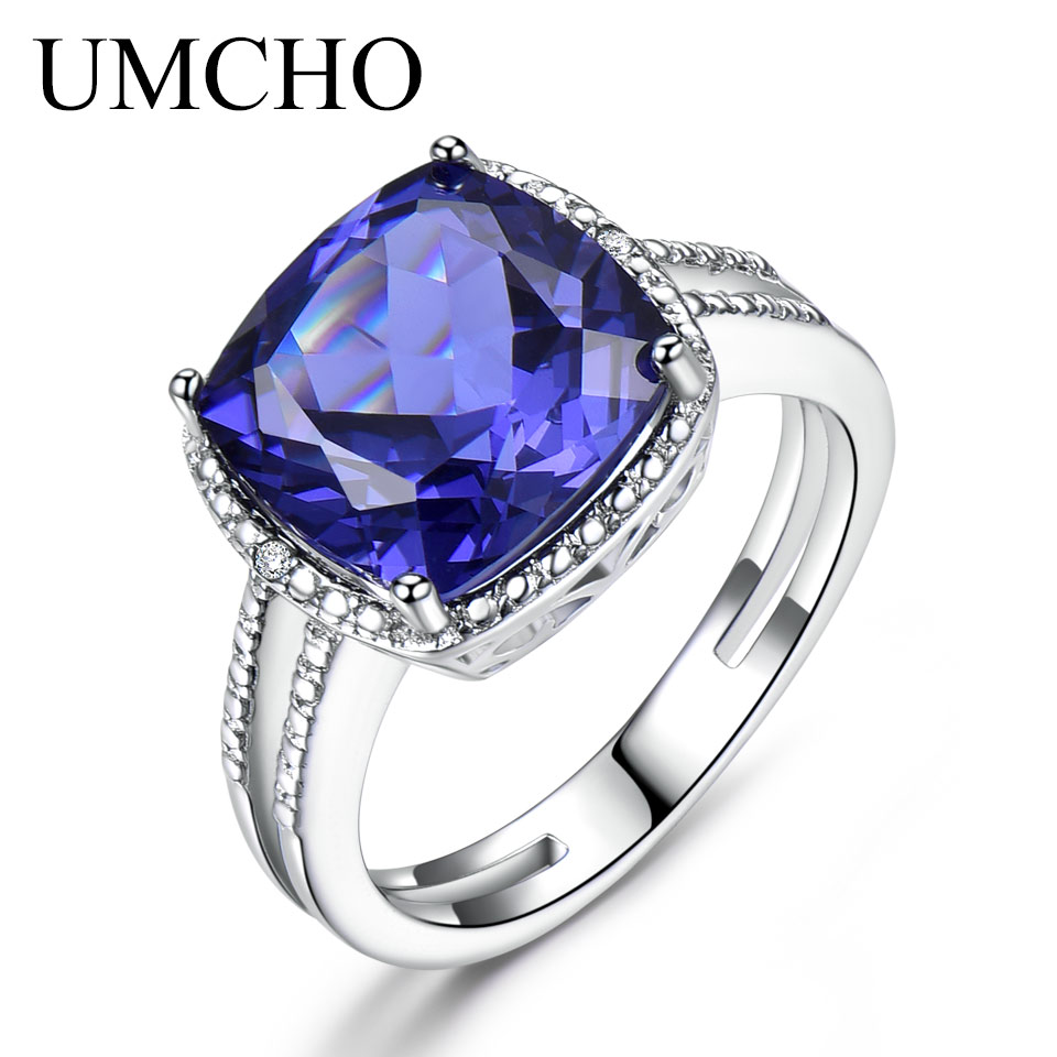 UMCHO Luxury Tanzanite Rings For Women Female Engagement Genuine Solid 925 Sterling Silver Jewelry Christmas Gift With Box 2019 umcho luxury tanzanite rings for women solid 925 sterling silver gemstone engagement ring sets christmas jewelry gift with box