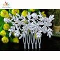 Оптовая продажа бесплатная доставка невесты свадебное ну вечеринку качество цветок белый моделируется-жемчужина кристалл волос гребень CT1339
