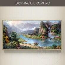 Одаренных художник ручная роспись высокое качество Китай Горный пейзаж маслом живопись, импрессионизм китайский фэн-шуй пейзажная живопись