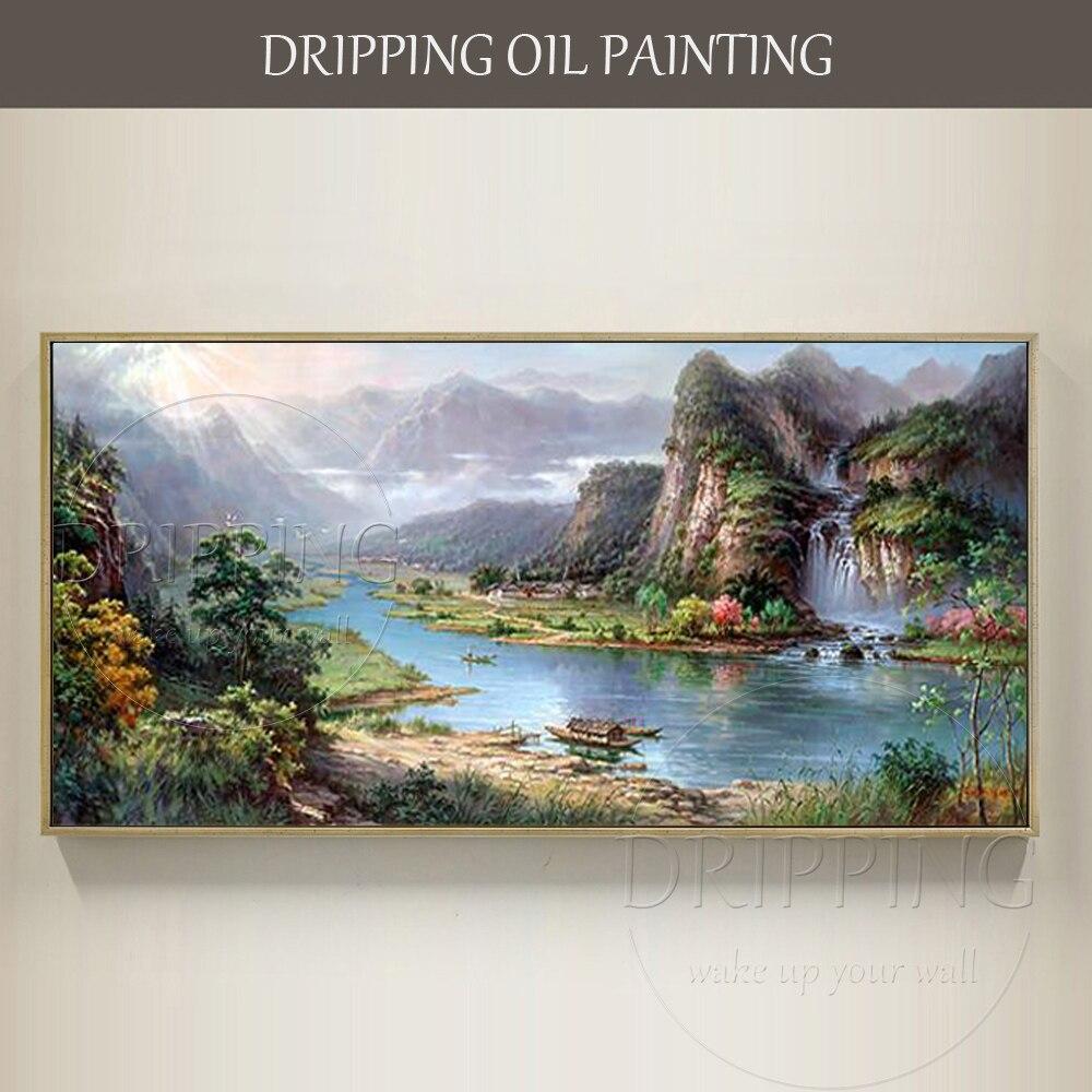 Gifted Artista Pittura A Olio dipinta A mano di Alta Qualità Della Cina Paesaggio di Montagna Cina Feng Shui Pittura di Paesaggio Impressionista