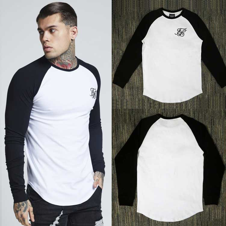 Men Autumn Cotton siksilk T shirt Kanye West Splicing T-shirts Long sleeve Hip Hop T-shirt shirts Top Men Longline tees With