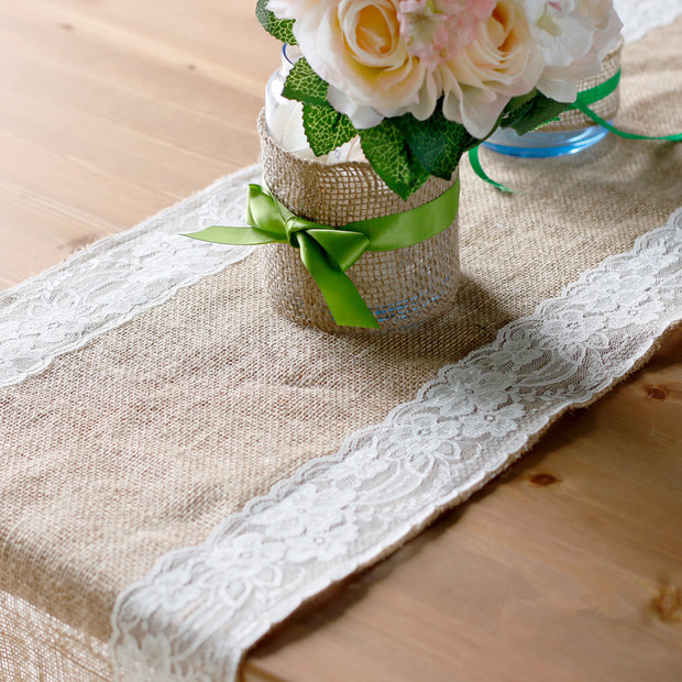 New delicate natural jute table runner with pure white lace embroidery 30x275cm home decoration linen mats