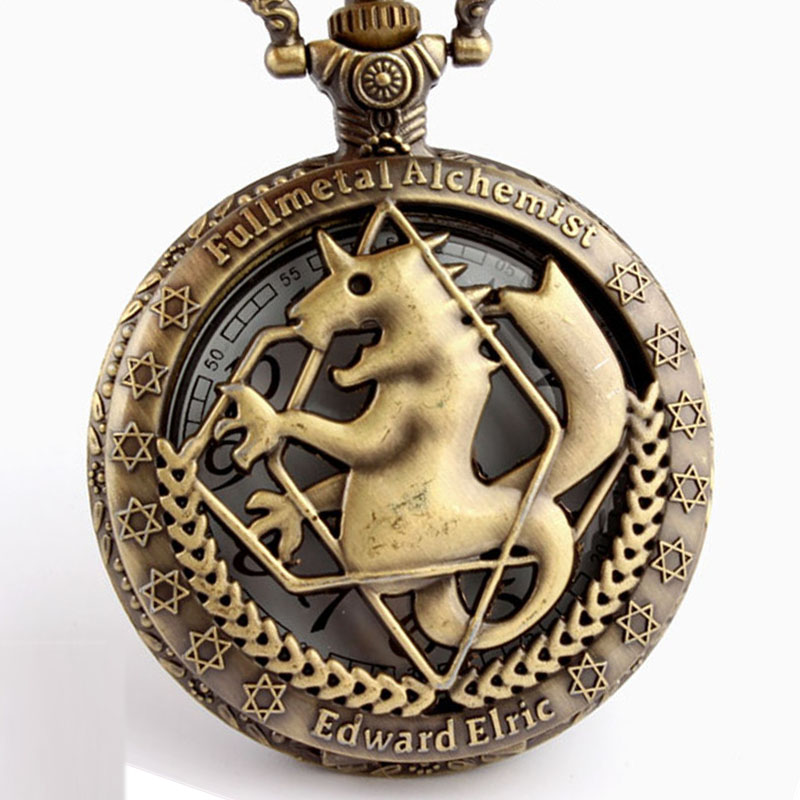 Uhren Antike Fullmetal Alchemist Cosplay Edward Elric Quarz Taschenuhr Silber Bronze Schwarz Kette Anhänger Uhr Frauen Männer Geschenk