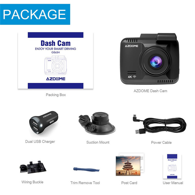 Original AZDOME GS63H 4K Dash Cam Built-In GPS WIFI Car Camera With Real Camera Dvr WDR Night Vision Dashcam 24H Parking Monitor 5