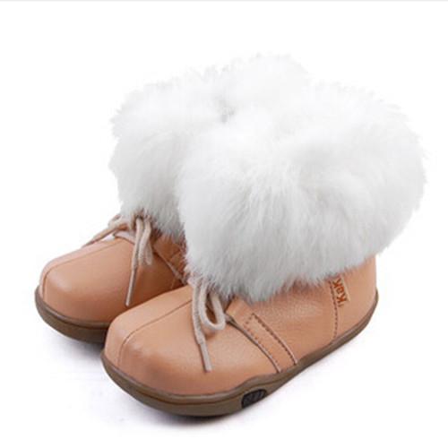 Nuevos 2016 botas de nieve botas zapatos de bebé de los niños zapatos de invierno para las muchachas Envío Gratis Verdadero conejo princesa Caliente 1-555