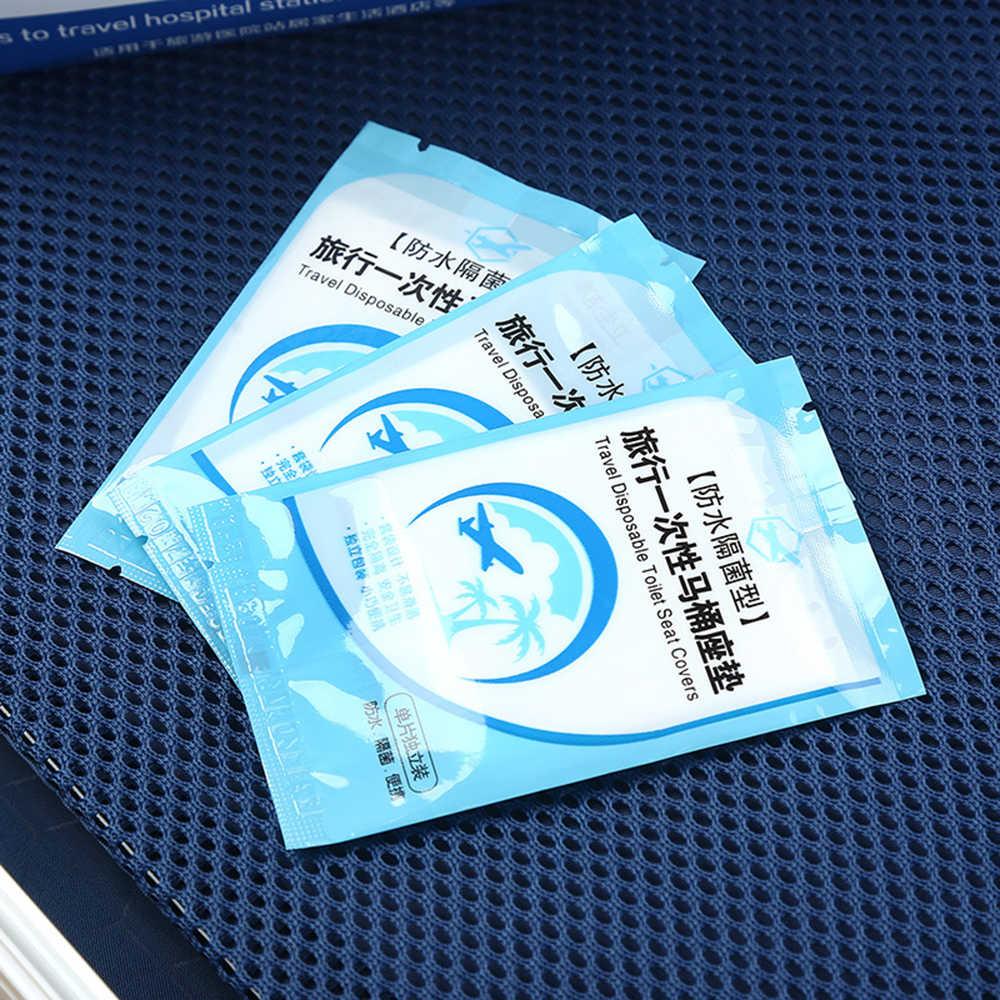 Portátil cubierta de asiento higiénico desechable Mat 100% de seguridad impermeable asiento de inodoro Pad para viajes/Camping baño accesorios