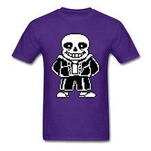 Undertale Sans T-shirts Game Fans Men Tshirt Hip Hop Short Sleeve 100% Cotton Crew Neck Mens Tops Skulls Tees Summer Purple