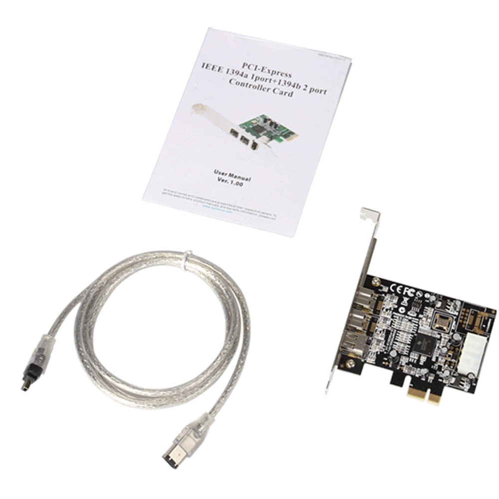 2 ports <font><b>1394B</b></font> + 1394A PCI-e card with 6pin to 4pin cable External Firewire 800 400 <font><b>IEEE</b></font> <font><b>1394b</b></font> PCI express card Chipset TI2213 image