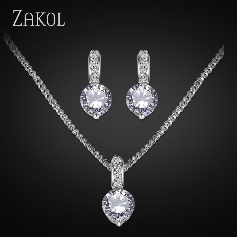 ZAKOL Big Hot Sale Crystal bryllup smykker sett med mote hvite farger øreringer / halskjede Bijouterie sett for kvinner FSSP028