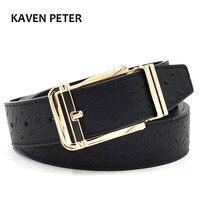 Ostrich Belt Men Cummerbunds Black Designer Belt Men High Quality Gold Metal Waist Pure Leather Belts