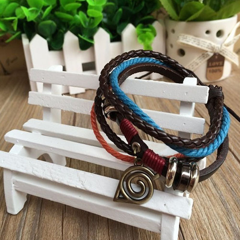 Anime Naruto Bracelet  For Women Leaf Village Badg Couple Bracelet Homme Cosplay Accessory Props Gifts