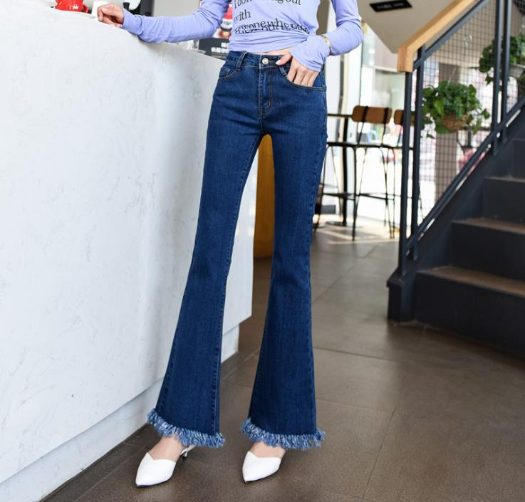High waist Flare jeans women's autumn and winter 2019 new raw plus size slim jeans