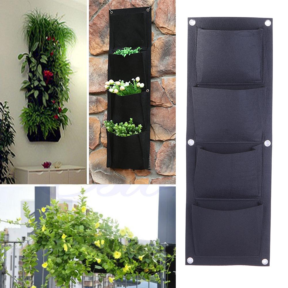 4 pocket planteur sac intérieur mur extérieur balcon jardin deux chambre verticale pendaison sac