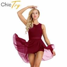 ChicTry Women Sleeveless Asymmetrical Chiffon Lyrical Dance Costumes Adult Stretchy Ballet Tutu Gymnastics Leotard Dance Dress