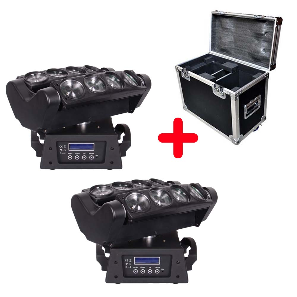 Flightcase + 2 Units High Quality Spider Beam 8*10W RGBW 4IN1 LED Moving Head Light For DJ Party KTV Club Stage Effect Lighting  2pcs lot led moving head light high quality 8 10w rgbw 4in1 spider beam dj party ktv club light stage effect lighting