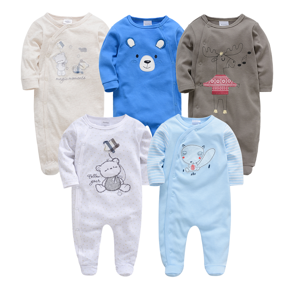 Kavkas Roupa De Bebes Infantil Menina Full Sleeve Newborn Baby Boy Rompers Set 2pc 3pc 5pcs Infant Girls Clothing Set